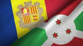 Andorra en Burundi twee vlaggen textieldoek, stoffentextuur stock illustratie