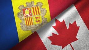 Andorra en Canada twee vlaggen textieldoek, stoffentextuur royalty-vrije illustratie
