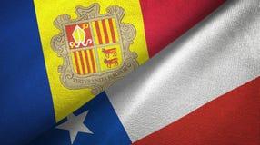 Andorra en Chili twee vlaggen textieldoek, stoffentextuur vector illustratie