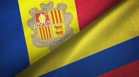 Andorra en Colombia twee vlaggen textieldoek, stoffentextuur stock illustratie