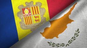 Andorra en Cyprus twee vlaggen textieldoek, stoffentextuur stock illustratie