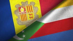 Andorra en de Comoren twee vlaggen textieldoek, stoffentextuur stock illustratie
