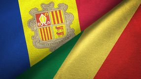 Andorra en de Kongo twee vlaggen textieldoek, stoffentextuur stock illustratie