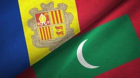 Andorra en de Maldiven twee vlaggen textieldoek, stoffentextuur stock illustratie