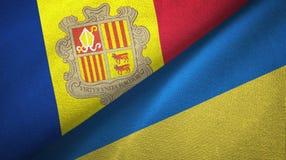 Andorra en de Oekra?ne twee vlaggen textieldoek, stoffentextuur stock illustratie