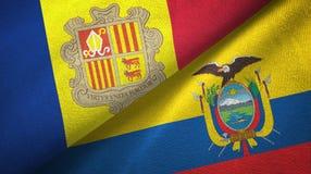 Andorra en Ecuador twee vlaggen textieldoek, stoffentextuur stock illustratie