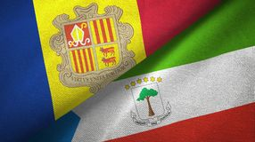 Andorra en Equatoriaal-Guinea twee vlaggen textieldoek, stoffentextuur vector illustratie