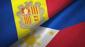 Andorra en Filippijnen twee vlaggen textieldoek, stoffentextuur vector illustratie