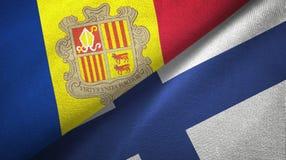 Andorra en Finland twee vlaggen textieldoek, stoffentextuur vector illustratie