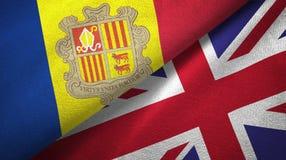 Andorra en het Verenigd Koninkrijk twee vlaggen textieldoek, stoffentextuur royalty-vrije illustratie