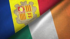 Andorra en Ierland twee vlaggen textieldoek, stoffentextuur vector illustratie