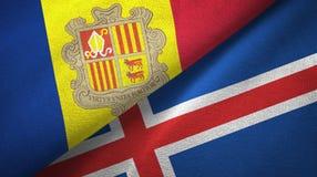 Andorra en IJsland twee vlaggen textieldoek, stoffentextuur vector illustratie