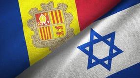 Andorra en Isra?l twee vlaggen textieldoek, stoffentextuur royalty-vrije illustratie