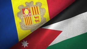 Andorra en Jordani? twee vlaggen textieldoek, stoffentextuur stock illustratie
