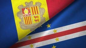 Andorra en Kaap Cabo Verde twee vlaggen textieldoek, stoffentextuur royalty-vrije illustratie