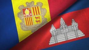 Andorra en Kambodja twee vlaggen textieldoek, stoffentextuur royalty-vrije illustratie
