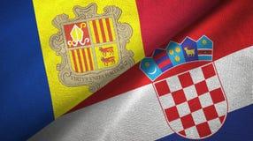 Andorra en Kroati? twee vlaggen textieldoek, stoffentextuur royalty-vrije illustratie