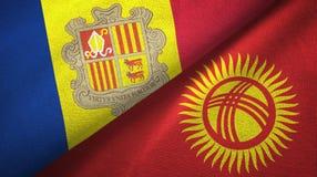 Andorra en Kyrgyzstan twee vlaggen textieldoek, stoffentextuur vector illustratie