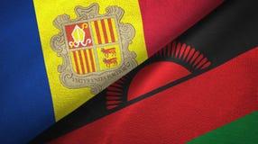 Andorra en Malawi twee vlaggen textieldoek, stoffentextuur royalty-vrije illustratie