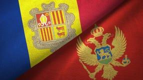 Andorra en Montenegro twee vlaggen textieldoek, stoffentextuur vector illustratie