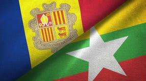 Andorra en Myanmar twee vlaggen textieldoek, stoffentextuur royalty-vrije illustratie