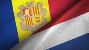 Andorra en Nederland twee vlaggen textieldoek, stoffentextuur royalty-vrije illustratie