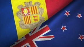 Andorra en Nieuw Zeeland twee vlaggen textieldoek, stoffentextuur stock illustratie