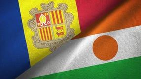 Andorra en Niger twee vlaggen textieldoek, stoffentextuur royalty-vrije illustratie