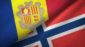 Andorra en Noorwegen twee vlaggen textieldoek, stoffentextuur stock illustratie