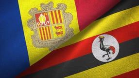 Andorra en Oeganda twee vlaggen textieldoek, stoffentextuur royalty-vrije illustratie