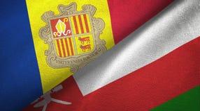 Andorra en Oman twee vlaggen textieldoek, stoffentextuur stock illustratie