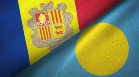 Andorra en Palau twee vlaggen textieldoek, stoffentextuur stock illustratie