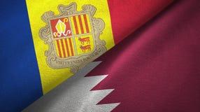Andorra en Qatar twee vlaggen textieldoek, stoffentextuur stock illustratie