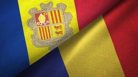 Andorra en Roemeni? twee vlaggen textieldoek, stoffentextuur vector illustratie