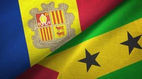 Andorra en Sao Tom? en Principe twee vlaggen textieldoek, stoffentextuur stock illustratie