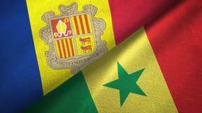 Andorra en Senegal twee vlaggen textieldoek, stoffentextuur vector illustratie