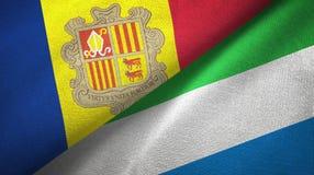 Andorra en Sierra Leone twee vlaggen textieldoek, stoffentextuur royalty-vrije illustratie