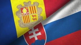 Andorra en Slowakije twee vlaggen textieldoek, stoffentextuur vector illustratie