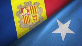 Andorra en Somali? twee vlaggen textieldoek, stoffentextuur vector illustratie