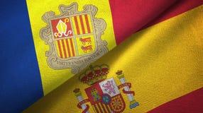 Andorra en Spanje twee vlaggen textieldoek, stoffentextuur royalty-vrije illustratie