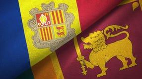 Andorra en Sri Lanka twee vlaggen textieldoek, stoffentextuur stock illustratie