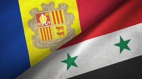 Andorra en Syri? twee vlaggen textieldoek, stoffentextuur royalty-vrije illustratie
