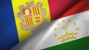 Andorra en Tadzjikistan twee vlaggen textieldoek, stoffentextuur royalty-vrije illustratie