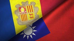 Andorra en Taiwan twee vlaggen textieldoek, stoffentextuur stock illustratie