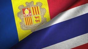 Andorra en Thailand twee vlaggen textieldoek, stoffentextuur vector illustratie