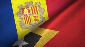 Andorra en Timor-Leste Oost-Timor twee vlaggen textieldoek, stoffentextuur stock illustratie
