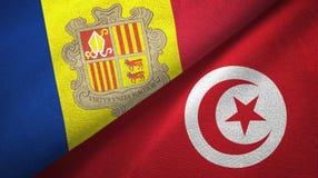 Andorra en Tunesi? twee vlaggen textieldoek, stoffentextuur stock illustratie