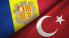 Andorra en Turkije twee vlaggen textieldoek, stoffentextuur royalty-vrije illustratie