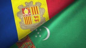 Andorra en Turkmenistan twee vlaggen textieldoek, stoffentextuur royalty-vrije illustratie