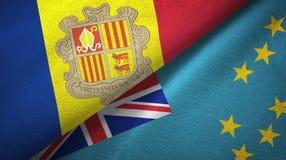 Andorra en Tuvalu twee vlaggen textieldoek, stoffentextuur stock illustratie